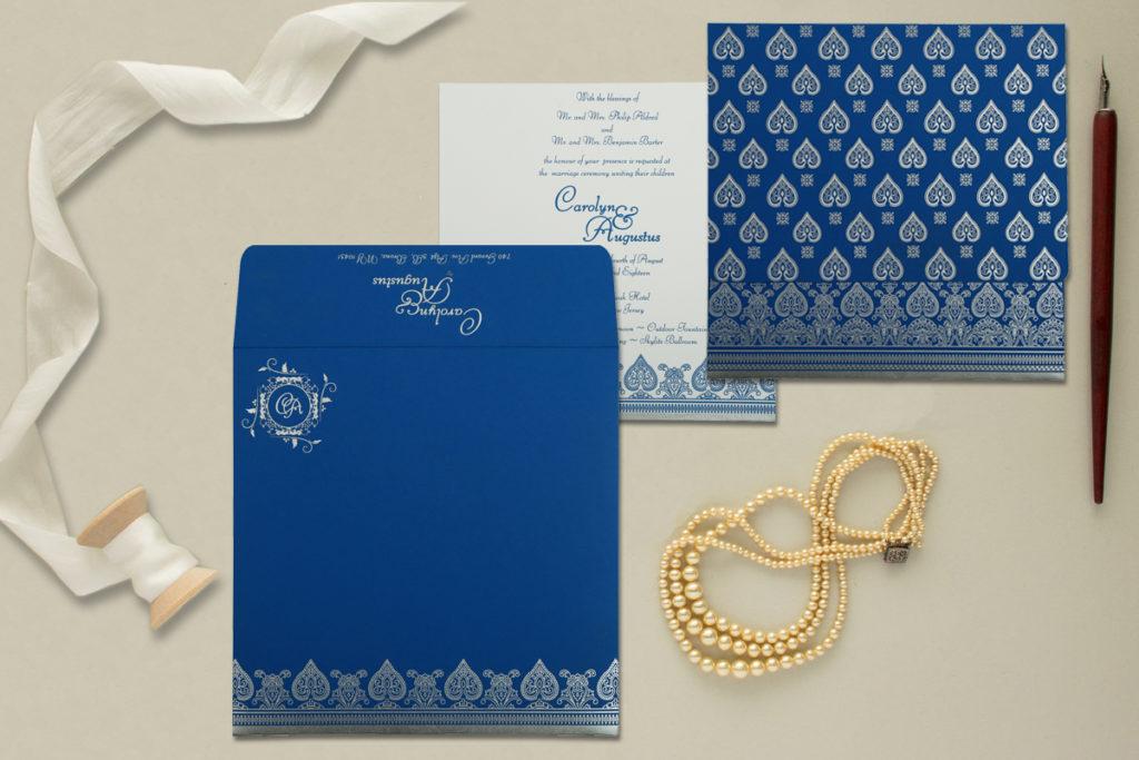 Blue color custom wedding invitation D-809D - 123WeddingCards