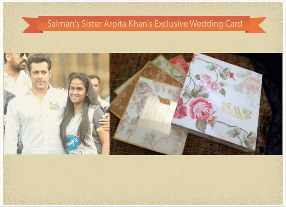 Salman Khan Sister Arpita Khan Wedding Invitations | 123WeddingCards