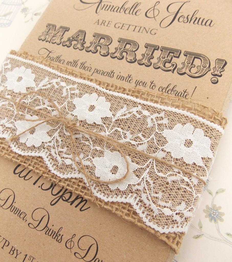 Ribbon world rustic wedding invitations