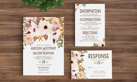 Rustic Floral Fancy Wedding Invitations-123weddingcards