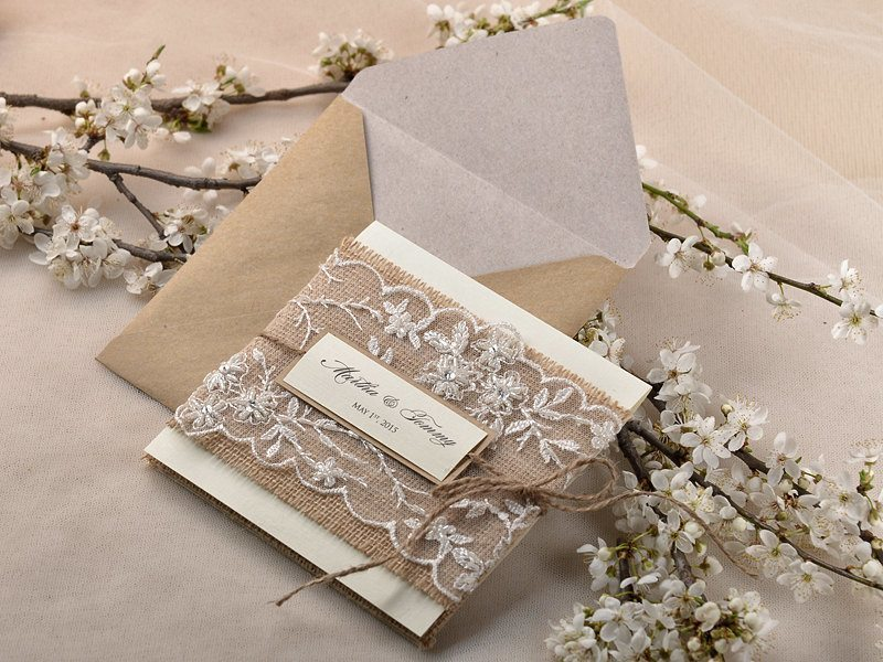 Rustic chic wedding invite