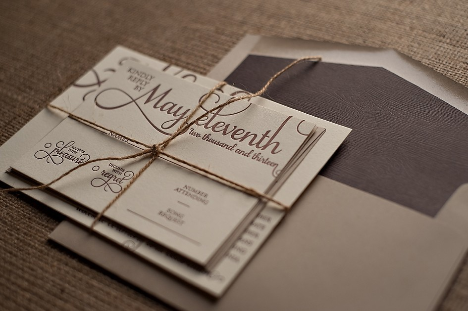 Rustic letterpress wedding invite