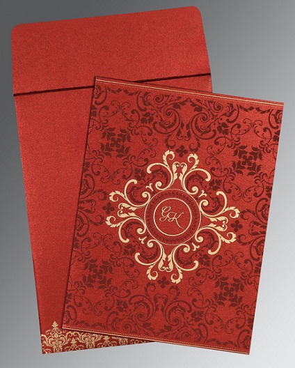 1.	Shimmer Paper Red Wedding Card