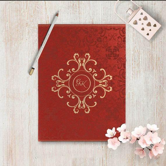 Red Shimmery Screen Printed Wedding Invitations- 123WeddingCards