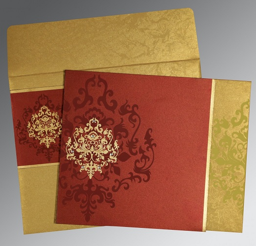 3.	Gold & Wine Red Rustic Wedding Card