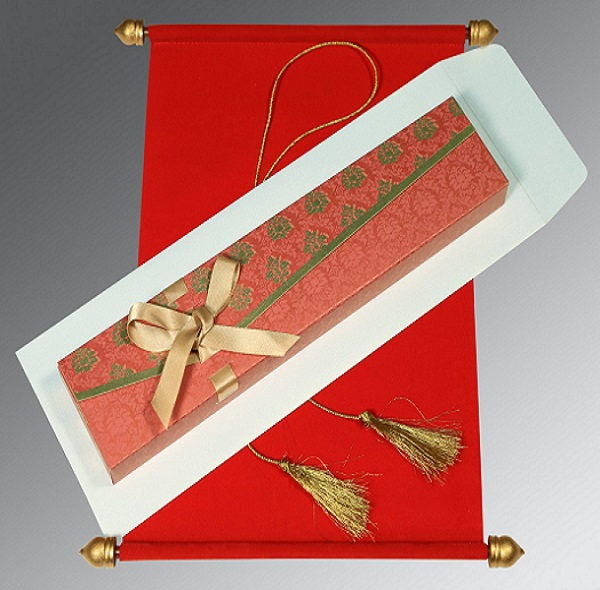 2.	Velvet Paper Red Scroll Card