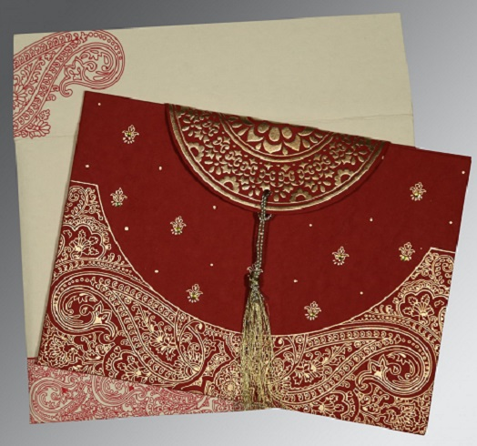 Red Hindu Card with Embossing