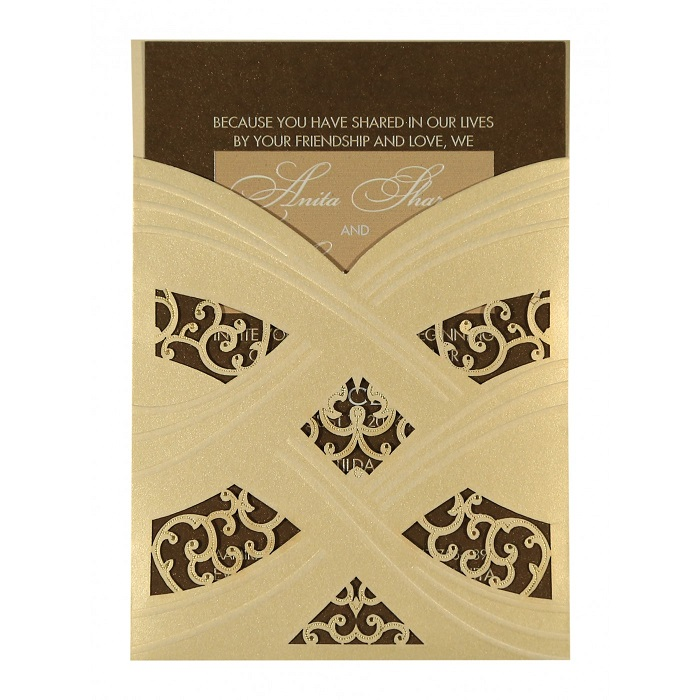 Golden color wedding invitation