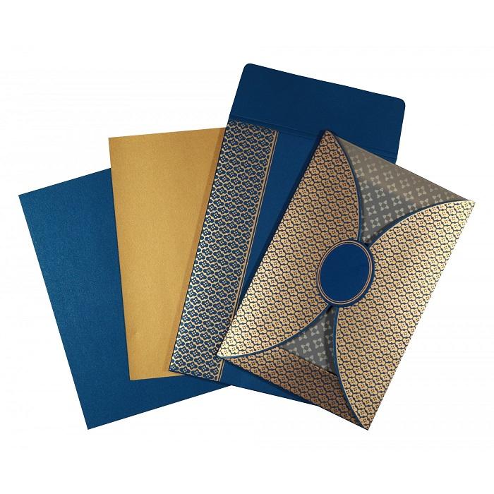 elegant blue color wedding invitation design