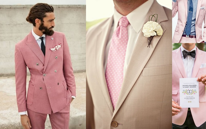 Wedding Suits Idea for Men Pink