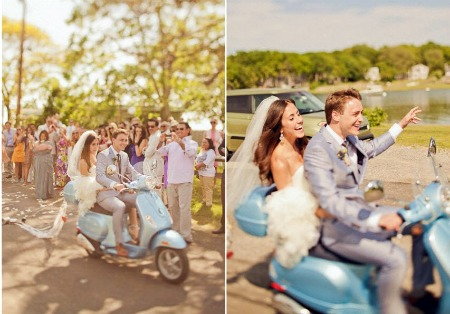 bride-and-groom-on-vespa-scooter | 123WeddingCards