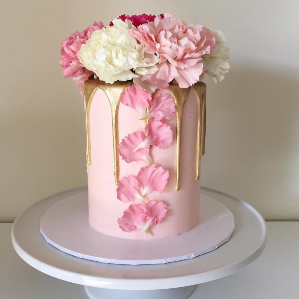 floral gold drips wedding cake - 123WeddingCards