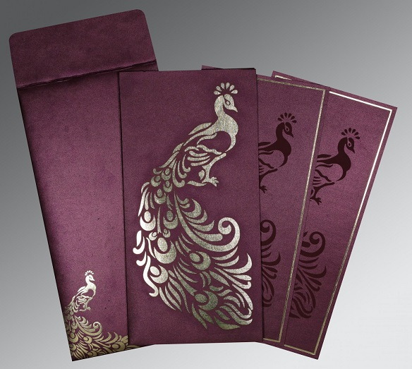 Designer Peacock Wedding Invitation - D-8255G - 123WeddingCards