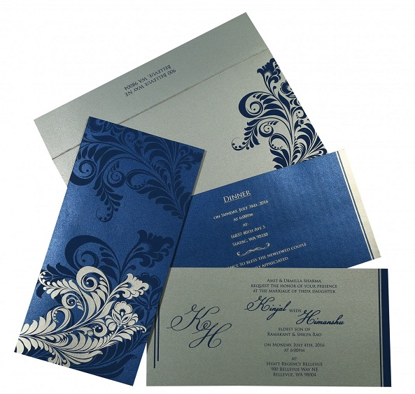 Designer wedding card - D-8259E - 123WeddingCards