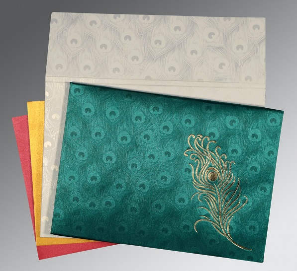 Peacock Theme Wedding Cards - D-1507 - 123WeddingCards