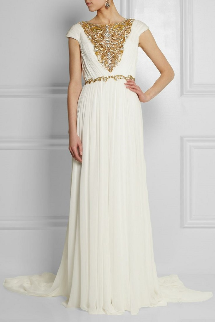White gown with pretty golden embellishments