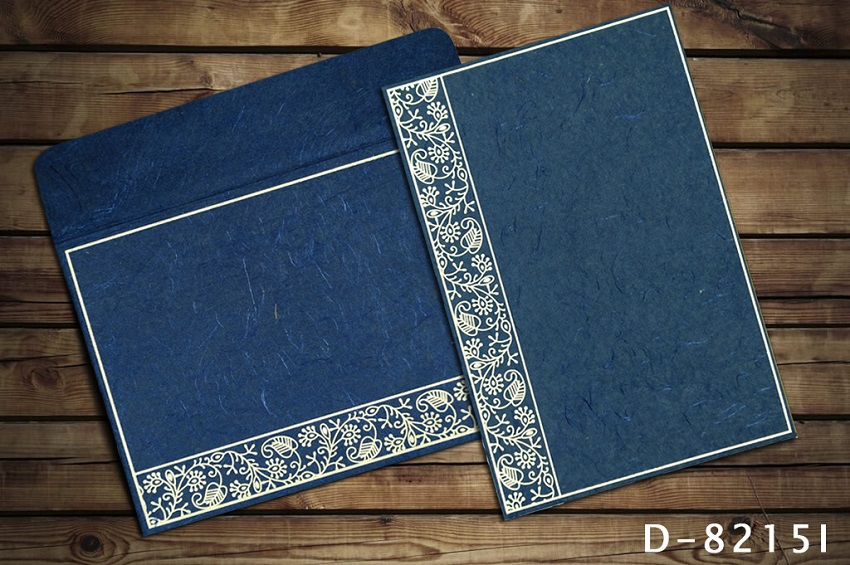 BLUE HANDMADE SILK SCREEN PRINTED WEDDING INVITATIONS D-8215I