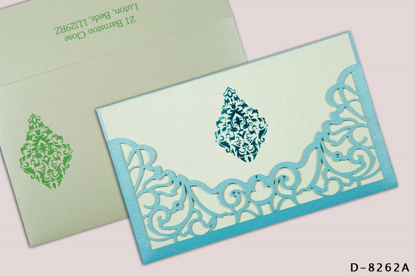 BLUE SHIMMERY DAMASK THEMED - LASER CUT WEDDING INVITATIONS D-8262A