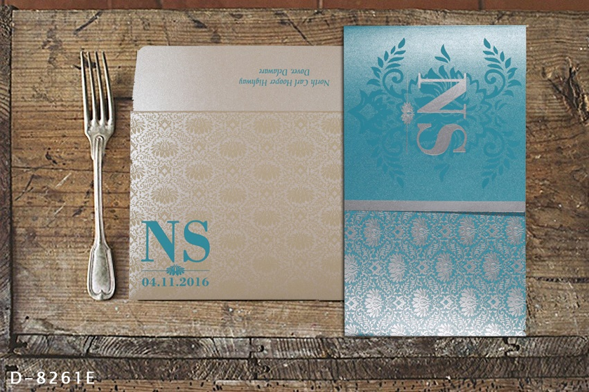 BLUE SHIMMERY DAMASK THEMED - SCREEN PRINTED WEDDING INVITATIONS D-8261E