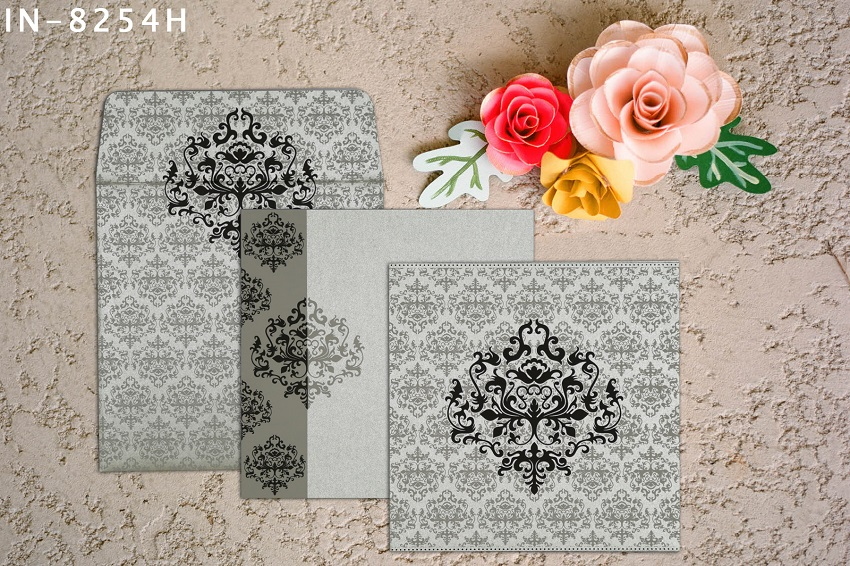 SHIMMERY DAMASK THEMED - SCREEN PRINTED WEDDING INVITATIONS IN-8254H