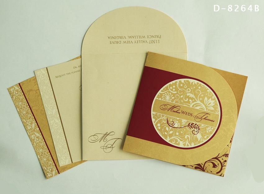 SHIMMERY PAISLEY THEMED - SCREEN PRINTED WEDDING INVITATIONS D-8264B