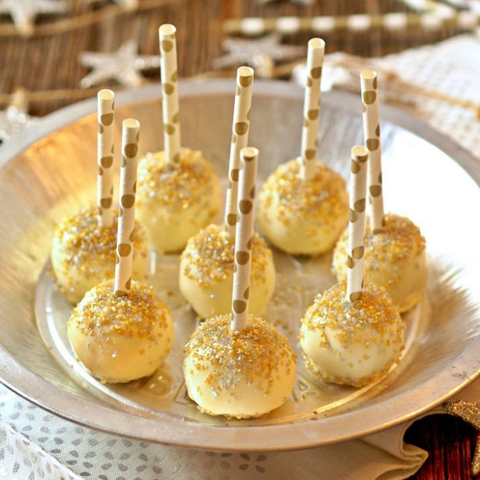 delicious treats with gold sprinkles