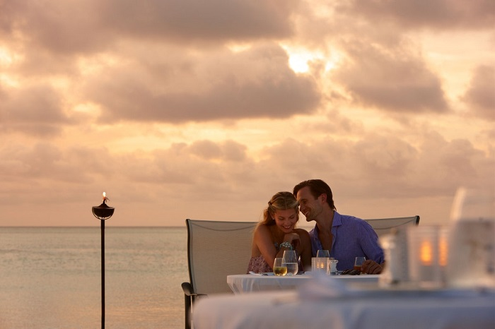 over the romantic dinner
