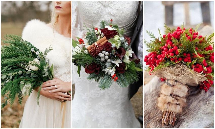 Bridal Bouquets Idea for Christmas Weddings - 123WeddingCards
