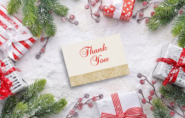 Christmas Theme Thank You Cards by 123WeddingCards
