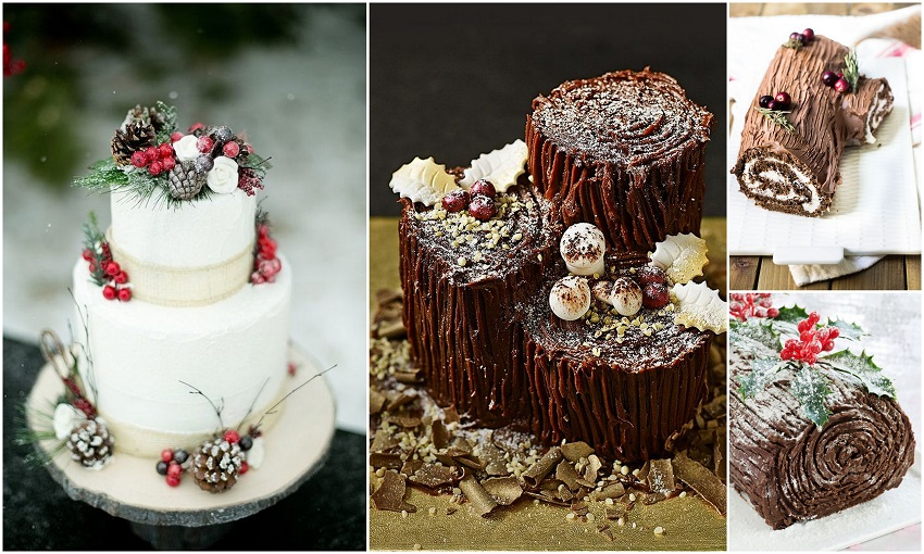 Yule log as Wedding Cake - 123WeddingCards
