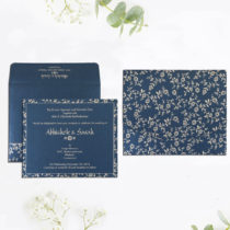 BLUE SHIMMERY SCREEN PRINTED WEDDING INVITATIONS : D-804DD - 123WeddingCards