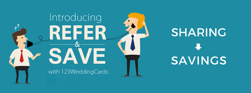 Refer and Save 20% on invitations - 123WeddingCards