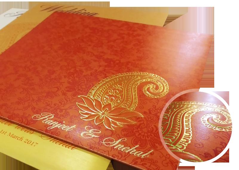 paisley theme wedding invitation - 123WeddingCards