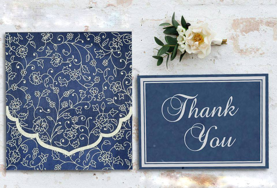 Blue Screen Printed Wedding Invitations - IN -8211- P -123WeddingCards