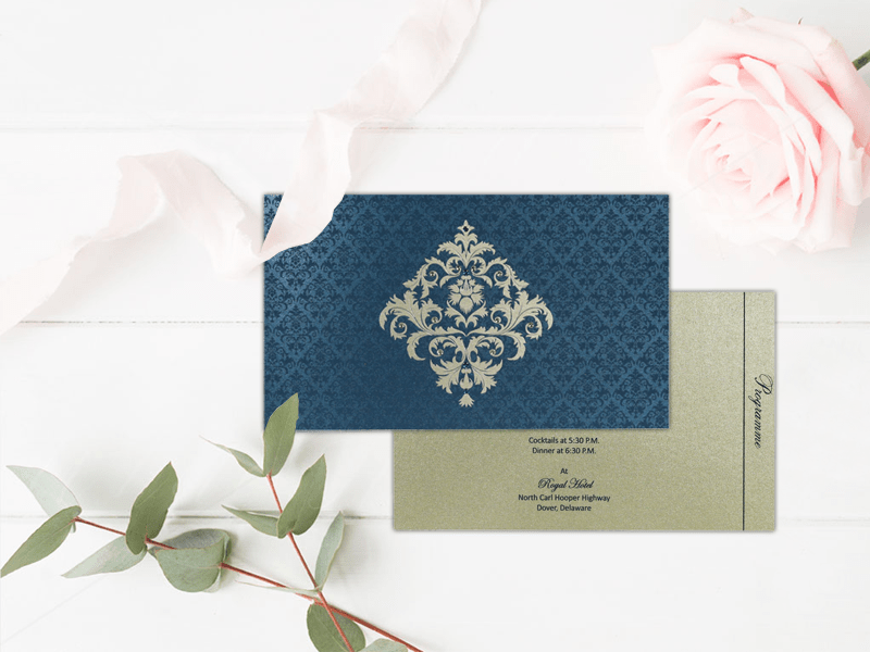 Blue Shimmery Damask Themed Wedding Invitations - IN-8257-G - 123WeddingCards