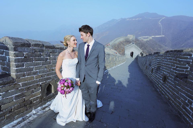 Couple marry on The Great Wall of China