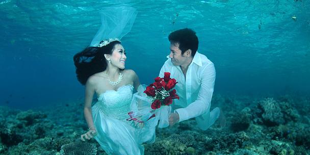 Under Waters weddig, Trang, Thailand