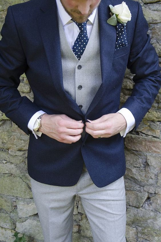 Navy suit, brown plaid tie for groom - 123WeddingCards
