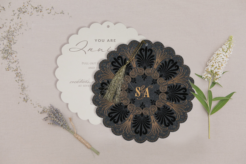 BLACK SHIMMERY FLORAL THEMED - EMBOSSED WEDDING CARD D-8238D from 123WeddingCards