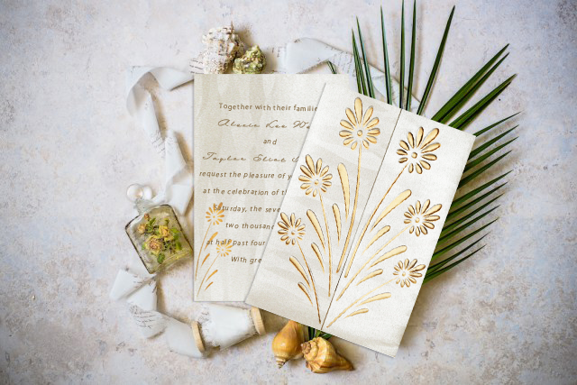 IVORYCREAM SHIMMERY FLORAL THEMED - EMBOSSED WEDDING CARD D-1378 - from 123WeddingCards