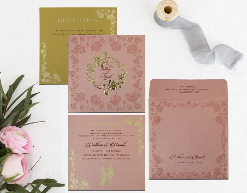 PINK SHIMMERY FLORAL THEMED - FOIL STAMPED WEDDING INVITATION D-1787 by 123WeddingCards