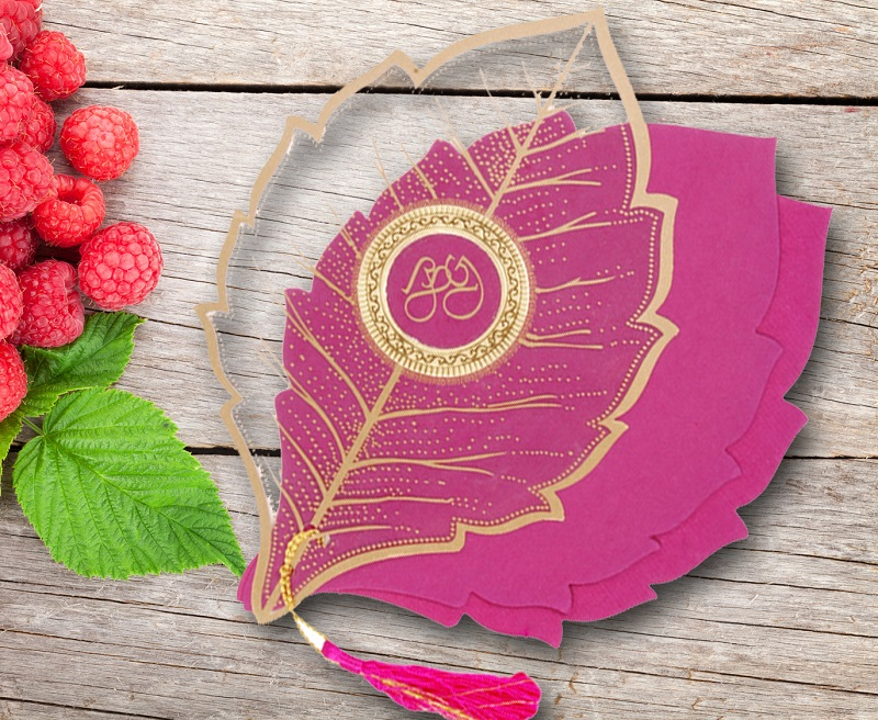 PINK-TRANSPARENT HANDMADE COTTON FLORAL THEMED - FOIL STAMPED WEDDING CARD D-8219F from 123WeddingCards