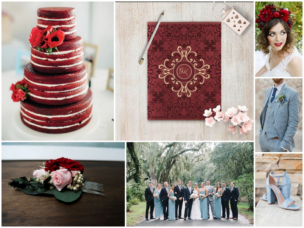 Color Palettes Combinations - 2018 - Dusty Blue and Deep Red
