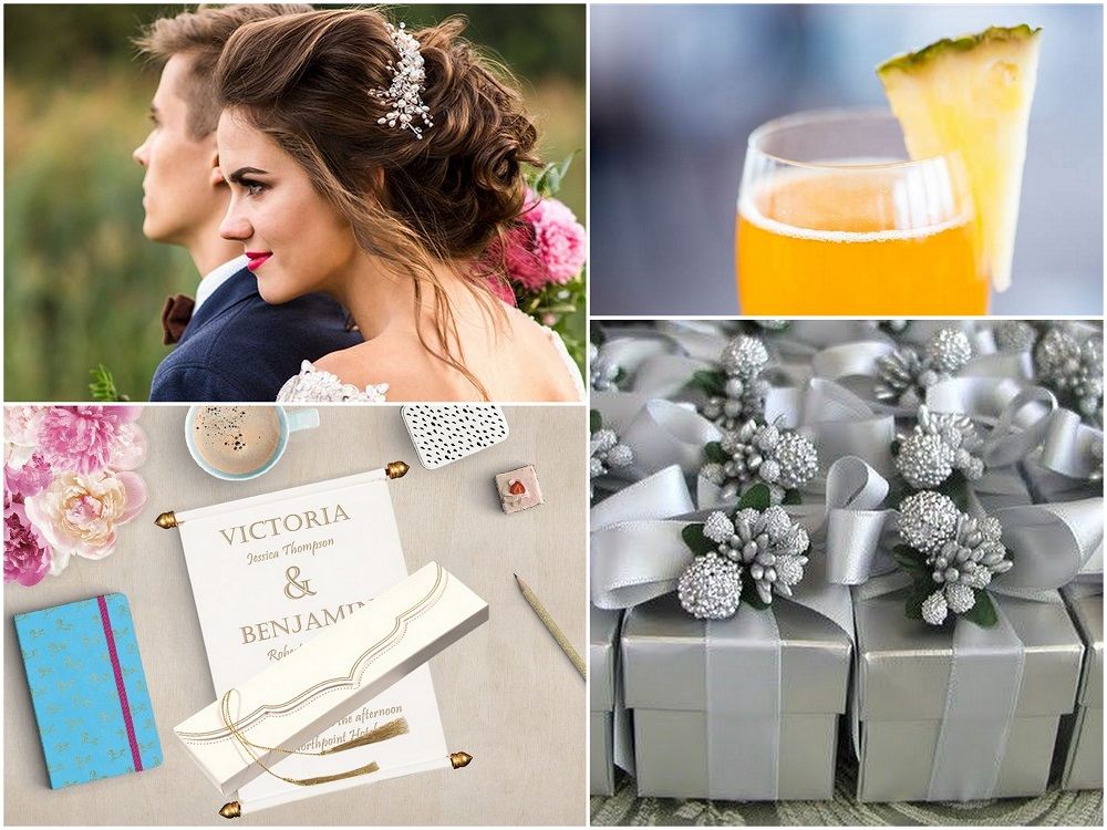 Color Palettes Combinations - 2018 - Silver, Custom Ivory, Grey and Sunset