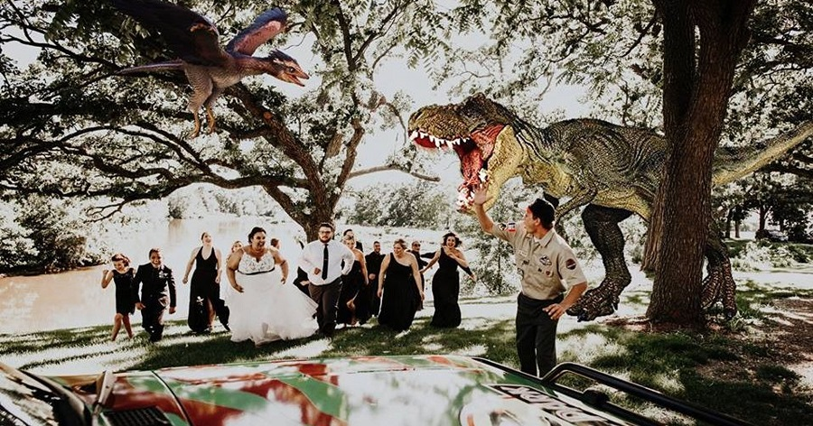 Jurassic park theme weding decor The Landings 1841, in Burlington, Wisconsin