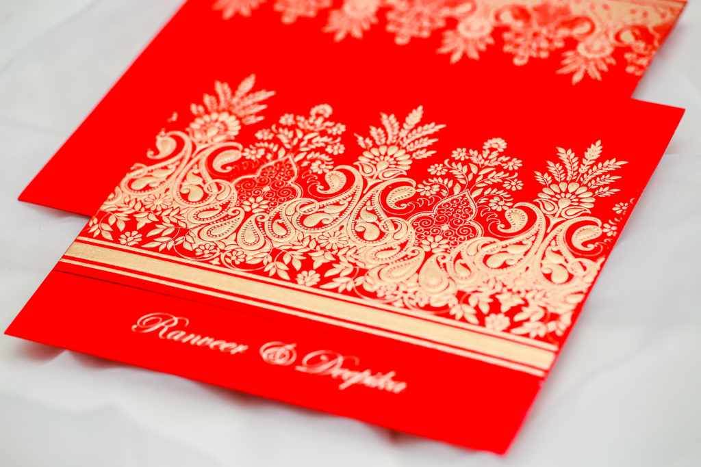 Christmas Inspired Red wedding invitation by 123WeddingCards