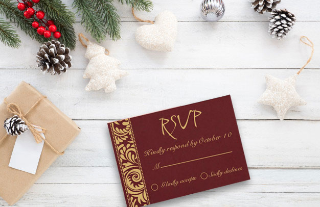 Christmas Theme RSVP Card -123WeddingCards
