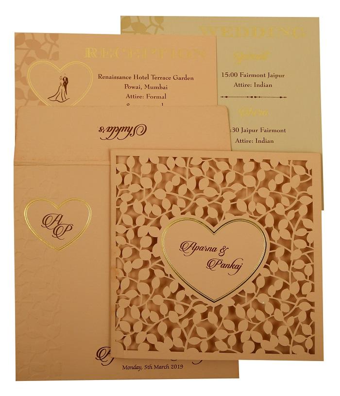 Heart Shape Valentine Theme Wedding Invitation- 123WeddingCards