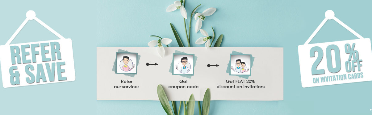 Refer and Save Offer by 123WeddingCards - Grab 20% Discount on All Wedding Invitations