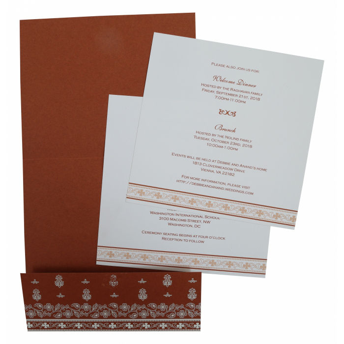 BRICK RED MATTE WEDDING INVITATION IN-808D